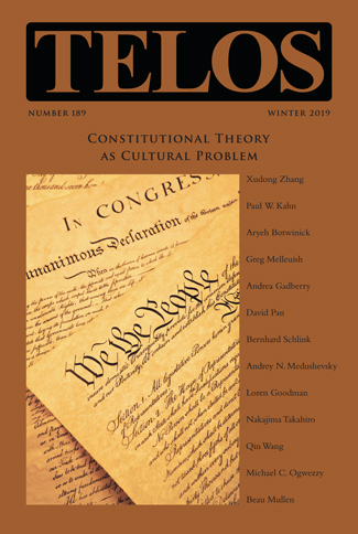 Telos 189 (Winter 2019): Constitutional Theory as Cultural Problem