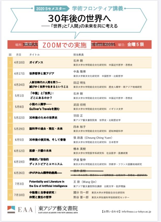【活動報告】第10回学術フロンティア講義 2020年6月19日(金)