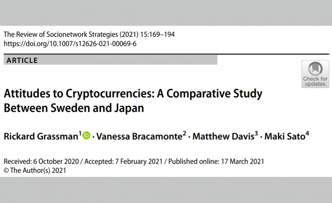 """Publication Announcement: """"Attitudes to Cryptocurrencies: A Comparative Study Between Sweden and Japan"""""""